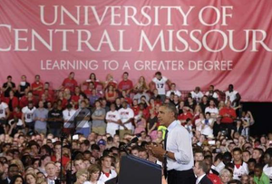 President Obama speaks at the University of Central Missouri.