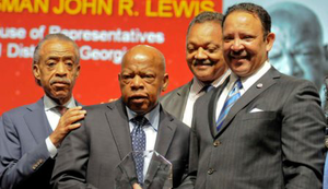The Reverend Al Sharpton with Rep. John Lewis, the Reverend Jesse Jackson and Marc H. Morial, president of the National Urban League.