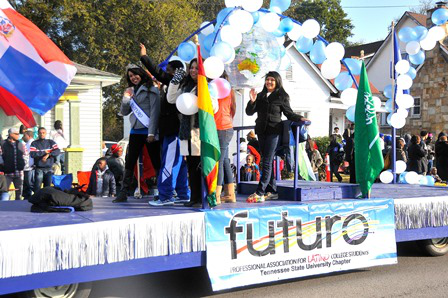 Tennessee State University's FUTURO chapter float during the university's homecoming parade in October. (Photo credit: Daryl Stuart)