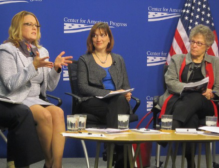 (Left to right) Yvonne Simon, Chief Learning Architect of the InnovationLab at Southern New Hampshire University; Becky Klein-Collins, Director of Research at the Council for Adult and Experiential Learning; and Jamienne Studley, U.S. Education Department Deputy Under Secretary, participate in a Center for American Progress event on competency-based education. (photo by Ronald Roach)