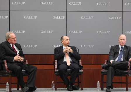 Jim Clifton, CEO and chairman of Gallup Inc.; Jamie Merisotis, president and CEO of the Lumina Foundation; and Mitch Daniels, president of Purdue University, discussing the Gallup-Purdue Index.