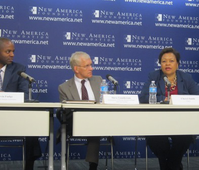 Kevin Fudge of American Student Assistance, Steve Gunderson of the Association of Private Sector Colleges and Universities and Cheryl Smith of the United Negro College Fund discuss Parent PLUS loan reform. (Photo by Ronald Roach)