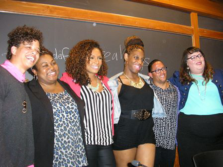 Janet Mock (third from right), author of Redefining Realness: My Path to Womanhood, Identity, Love & So Much More
