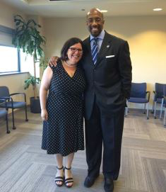Paul Quinn College President Michael J. Sorrell, with his adviser Dr. Marybeth Gasman, at the successful defense of his dissertation proposal from the Executive Doctorate in Higher Education Management program at the University of Pennsylvania.