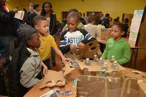 Students from Arlington Elementary/Middle School participate in a STEM Recognition event at the 29th Street Community Center that showcased STEM achievement. (Photo courtesy of Johns Hopkins University)