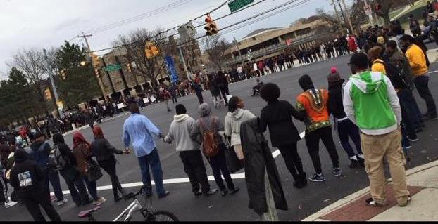 Protesters shut down an intersection near Morgan State University in Baltimore on Tuesday.