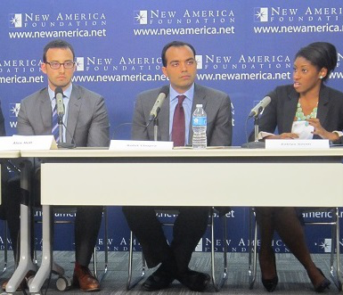 Alex Holt (left) with Rohit Chopra and Zakiya Smith discuss financial aid reform at New America Foundation event. (Photo by Ronald Roach)
