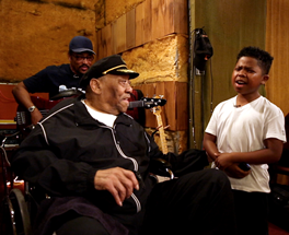 "A scene featuring blues legend Bobby ""Blue"" Bland, who died in 2013, and young rapper Lil' P-Nut, now 12, aims to help close the musical generation gap. (Photo courtesy of Take Me To The River Education Initiative)"