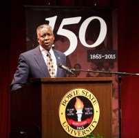 Dr. Mickey L. Burnim, Bowie State University president, helps kick off a celebration of his institution's 150th year of service. (Photo by Robert Eubanks)
