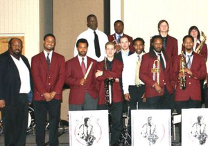 Dr. Ira Wiggins (far left) and an NCCU student Jazz ensemble