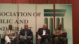 Dr. Mickey L. Burnim, president of Bowie State University, moderates a panel at the HBCU Summit sponsored by APLU, with Drs. Kevin Rome, president of Lincoln University of Missouri, Brian Hemphill, president of West Virginia State University, and William B. Bynum Jr., president of Mississippi Valley State University.