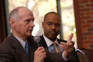 Former S.C. Governor Richard Riley and Juan Johnson, a Senior Distinguished Fellow in Diversity Leadership at the Riley Institute (photo courtesy of the Riley Institute)