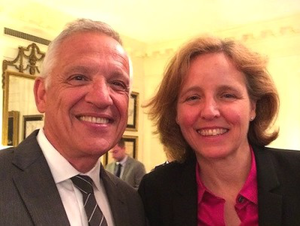 Dr. Yannis C. Yortsos, left, with Megan Smith, U.S. chief technology officer, in the White House Office of Science and Technology Policy on Demo Day. (Photo courtesy of Yannis C. Yortsos)