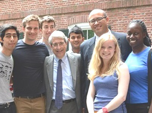 Yale University President Peter Salovey (fourth from left) and Yale College Dean Jonathan Holloway (third from right) pose with Class of 2019 students.  (Photo by Michael Masland; courtesy of Yale University)