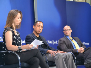 "Columbia University professor John McWhorter, center, and Dr. Angel Pérez, vice president for enrollment and student success at Trinity College, right, join moderator in a session titled ""Race and Class in Admissions and on Campus."""
