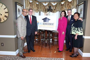 From left to right: Dr. Michael L. Lomax, UNCF president and CEO; Timothy E. McGuire, National Merit Scholarship Corporation president; Mrs. Lynda Bird Johnson Robb and former U.S. Sen. Charles Robb; and Cheryl Smith, UNCF senior vice president of public policy and government affairs, who was a National Achievement Scholarship recipient.