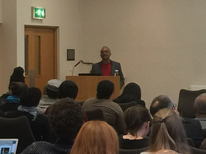 "Dr. V.P. Franklin, Distinguished Professor Emeritus of History at University of California Riverside, moderates a panel discussion at the ""Repairing the Past, Imagining the Future: Reparations and Beyond"" interdisciplinary conference taking place this week at the University of Edinburgh."