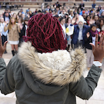 Students at the University of Colorado gather in support of protesters in Ferguson, Missouri, during a demonstration in Boulder, Colorado