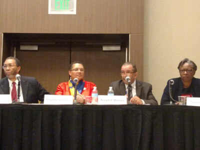 """Dr. William B. Harvey of North Carolina A&T State University, far left, served as moderator of a panel entitled """"Black Lives Matter: What Does the Higher Education Community Mean for the Movement?"""" that featured to his left Dr. Cheryl Davenport Dozier of Savannah State University, Dr. Kenneth P. Monteiro of San Francisco State University, and Dr. Tuajuanda C. Jordan of St. Mary's College of Maryland."""