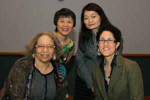 Clockwise from top right: Dr. Yi-Chun Tricia Lin, director and a professor of women's studies at Southern Connecticut State University; Xiumei Pu, a former assistant professor of women's studies at the University of Wisconsin–Eau Claire; Layli Maparyan, Katherine Stone Kaufmann '67 Executive Director of the Wellesley Centers for Women at Wellesley College; and Beverly Guy-Sheftall, founding director of the Women's Research and Resource Center at Spelman College.