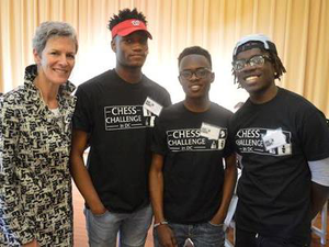 From left, James Black Jr., Joshua Colas and Justus Williams are chess masters from New York and headed to Webster University on full or partial scholarships to join its top-ranked chess team.