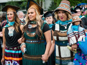The MPA Tribal Governance cohort at the graduation ceremony for the class of 2016. (Photo by Shauna Bittle/The Evergreen State College)