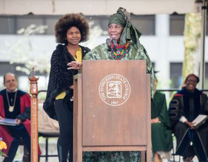 Dr. Maxine Mimms and guest Genieva Arunga, left, deliver the commencement address at Evergreen's 2016 graduation ceremony.