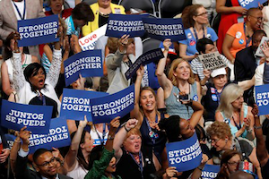 Delegates cheer during the first day of the Democratic National Convention in Philadelphia, Monday, July 25, 2016. (AP Photo/Mary Altaffer)