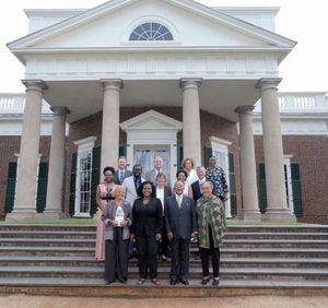 """Speakers on the steps of Monticello, from left to right, starting with the top row: Ed Ayers, Peter Onuf, Gayle Jessup White, Deborah McDowell, Bree Newsome, Jamelle Bouie, Lucia """"Cinder"""" Stanton, Melody Barnes, Jon Meacham, Nikki Giovanni, Annette Gordon-Reed, Henry Louis Gates Jr., and Marian Wright Edelman. (Photos courtesy of Thomas Jefferson Foundation at Monticello)"""