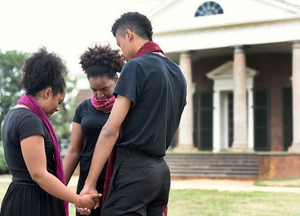 Members of the community performance project preparing for their performance on the West Lawn of Monticello.