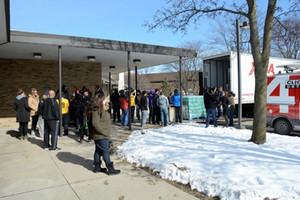 Water being donated to Mott Community College during the Flint, Michigan, water crisis. (Photo courtesy of Mott Community College)