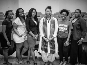 Dr. Keshia Abraham, fourth from right, stands with a group of women who discovered their heritage through AfricanAncestry.com (Photo courtesy of Florida Memorial University)