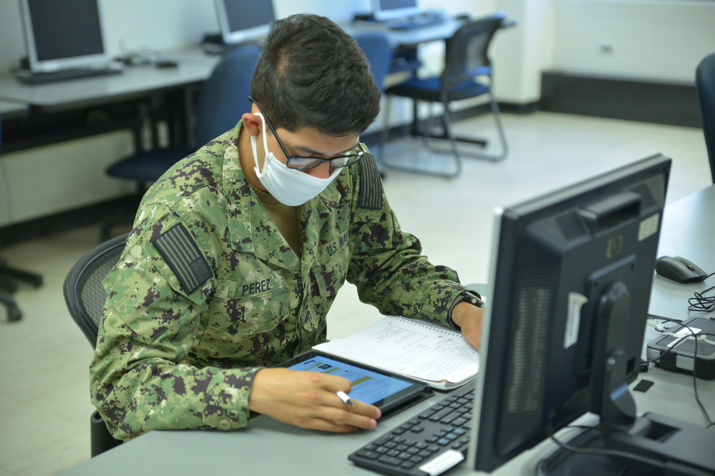 A sailor studies in the interactive courseware classroom to successfully pass Basic Engineering Common Core's at the Surface Warfare Engineering School Command.