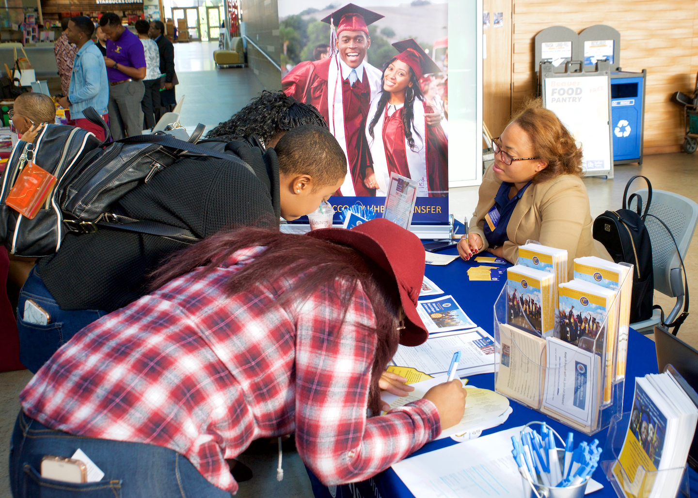 Students meet with HBCU representatives at a career fair. Each fall, California Community Colleges and HBCUs partner for a road trip up and down California's coast to spread the word about their opportunities.